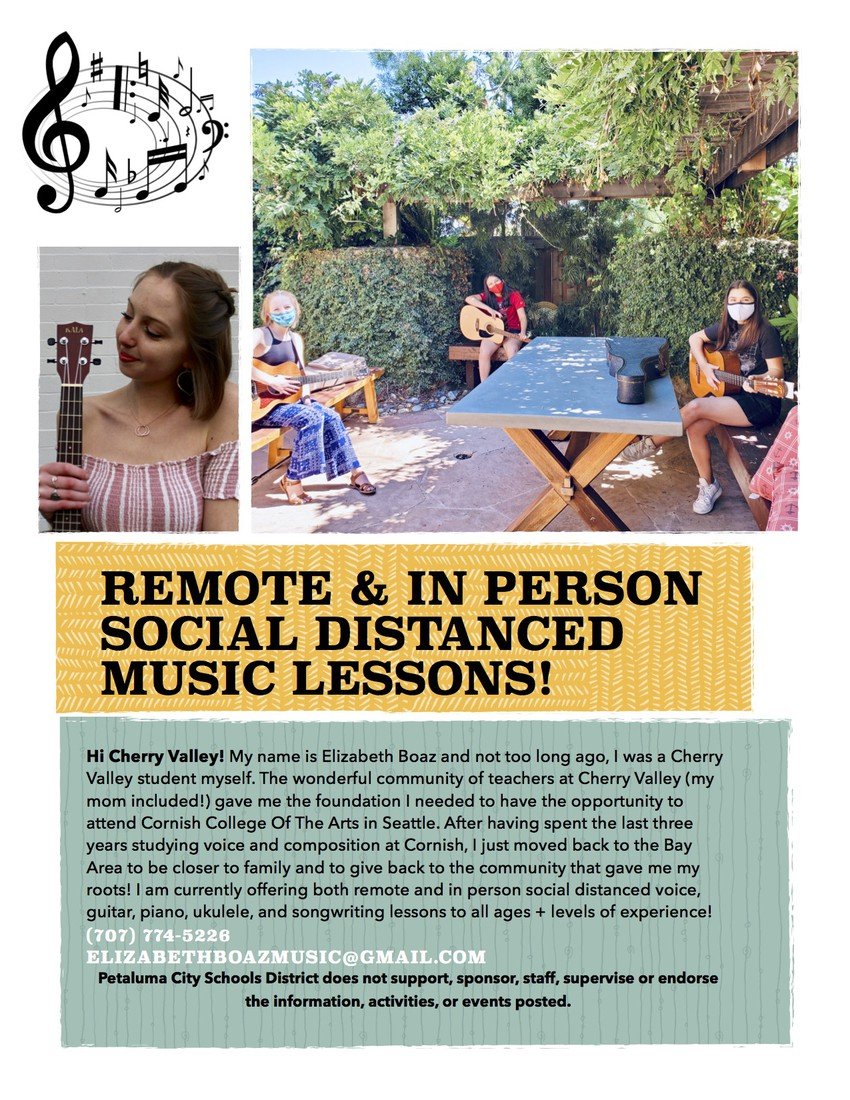 Elizabeth Boaz Music Lesson Flyer