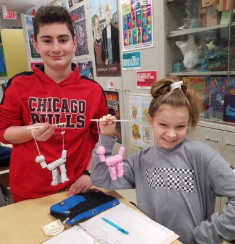 Clay marionettes in Art class