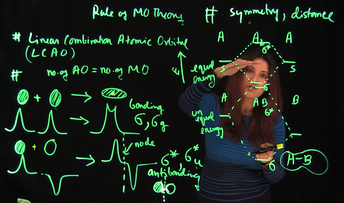 Biochemistry professor Arpita Saha behind a lightboard with neon green graphs and equations, illustrating changes in orbital energy.