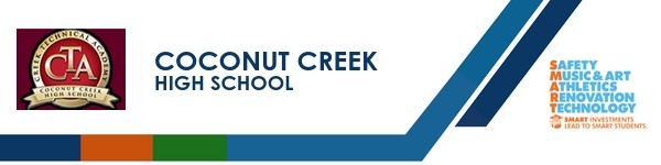 A graphic banner that shows Coconut Creek High School's name and SMART logo