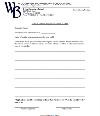 Teacher Request Policy