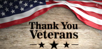 Thank you Veterans on wood plank with American flag