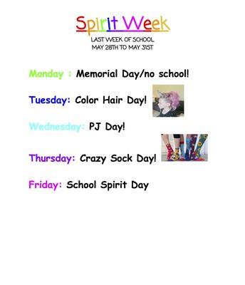 MCCV SPIRIT WEEK    MAY 27-31