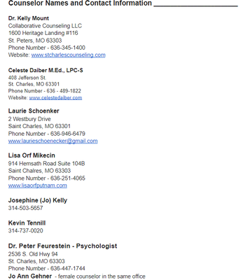 Suggested Therapists/Counselors/Psychiatrists