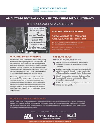 Calling all Middle School and High School Teachers-January 19 and 26: Analyzing Propaganda and Teaching Media Literacy