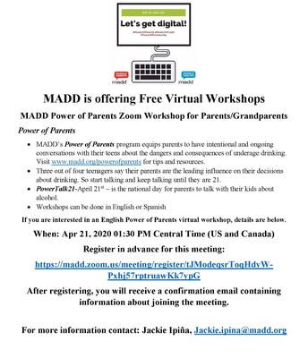 MADD: Power of Parents Webinar