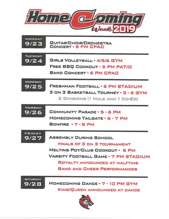 HOMECOMING CALENDAR