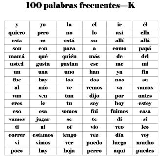 100 palabras frecuentes-K