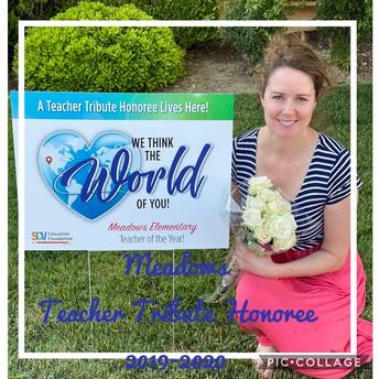 Mrs. Woodard, Teacher Tribute Honoree for 2019-2020