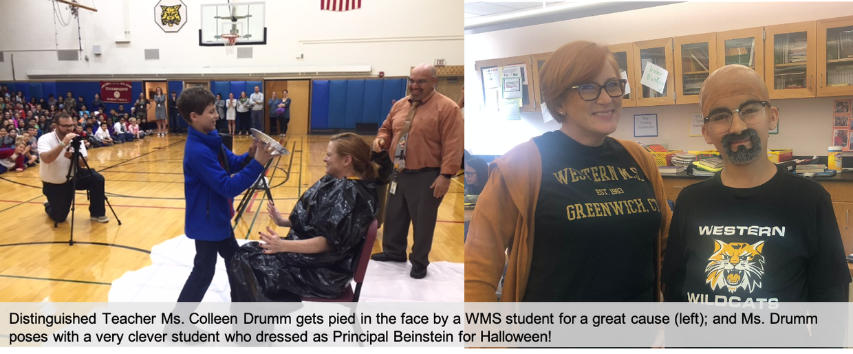 Ms. Colleen Drumm shares photos of her getting pied in the face by a WMS student.