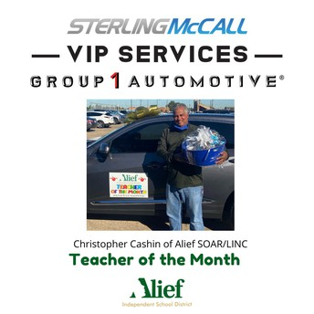 SOAR/LINC teacher Christopher Cashin was recognized as Group 1 Automotive's Teacher of the Month for December.