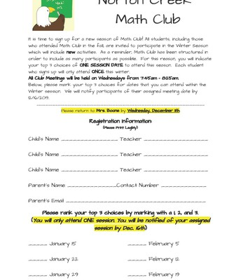 Math Club Registration Information