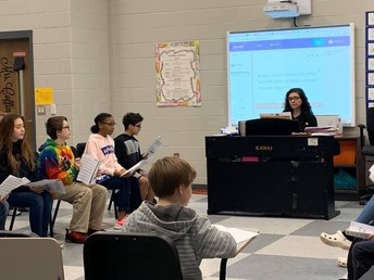 Ms. Coffin practiced with students today getting ready for the winter performances. #lmmsrocks