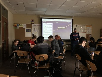 Mr. Bachmann and class engage in digital study game