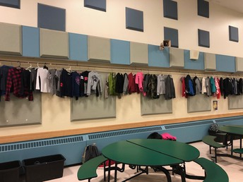 The wall of lost jackets and sweatshirts