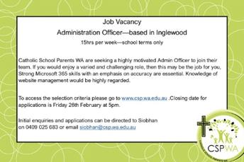 Job opportunity at Catholic School Parents WA