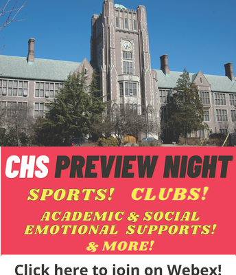 Virtual  CHS Preview Session for 8th Grade  Families:  Wed., May 12