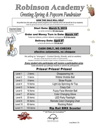 3/5 - Spring Fundraiser Begins Tuesday, March 5th through Tuesday, March 19th