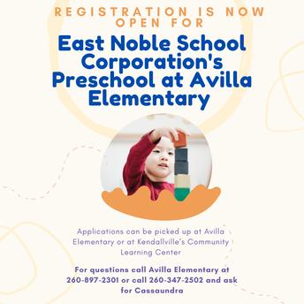 East Noble School Corporation's Preschool at Avilla Elementary