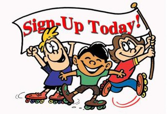 3 Kids on roller skates with Sign  Up Today banner