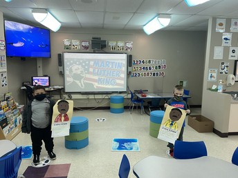 Students with Dr. Martin Luther King, Jr. projects