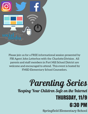 Parenting Series - Keeping Your Children Safe on the Internet, November 9th @ 6:30