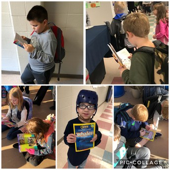 Students caught reading their Birthday Books!