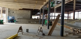 Inside the cafeteria and the google stairs