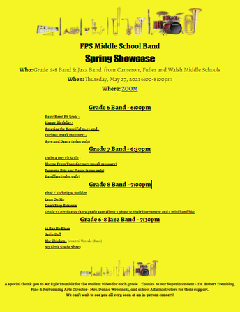 FPS Middle School Band Spring Showcase - May 27, 2021