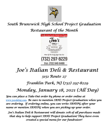SBHS PROJECT GRADUATION RESTAURANT OF THE MONTH