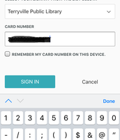 "Type in your library card number and tap ""Sign In."""