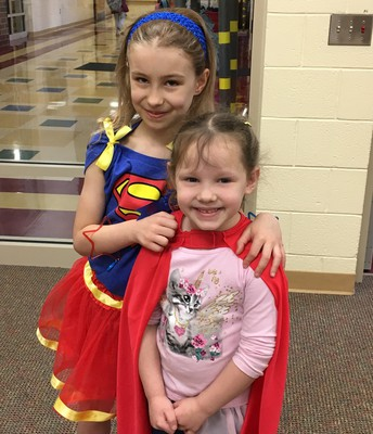Veda and Eva Dress as Super Heros