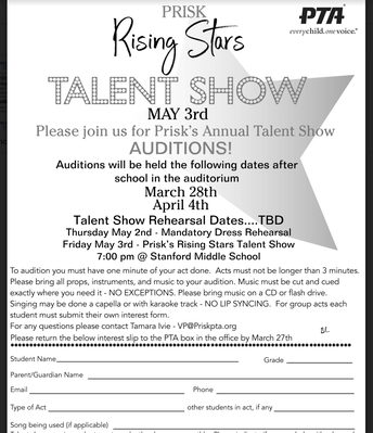 Talent Show Auditions Begin March 28th