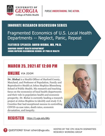 CPH Innovate Discussion Series: Fragmented Economics of U.S. Local Health Departments--Neglect, Panic, Repeat