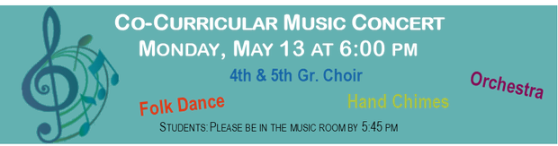 """Co-Curricular Music, Monday May 13th"" with music notes"