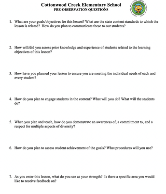Pre Observation Questions