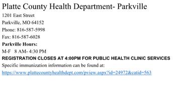 PC HEALTH DEPT. - PARKVILLE