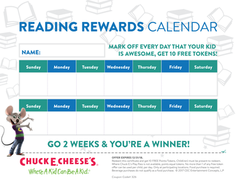 Chuck E. Cheese Reading Rewards Calendar