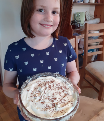 Bryony and her delicious-looking trifle.