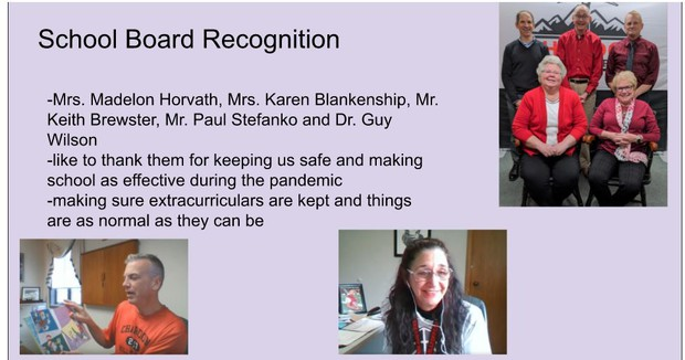 Student Liaison School Board Recognition Slide Presented at Jan. 11 BOE Meeting
