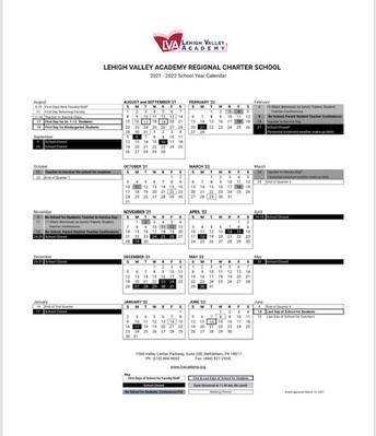 LVA 2021-2022 Academic Calendar