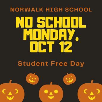 Student Free Day, Monday 10/12
