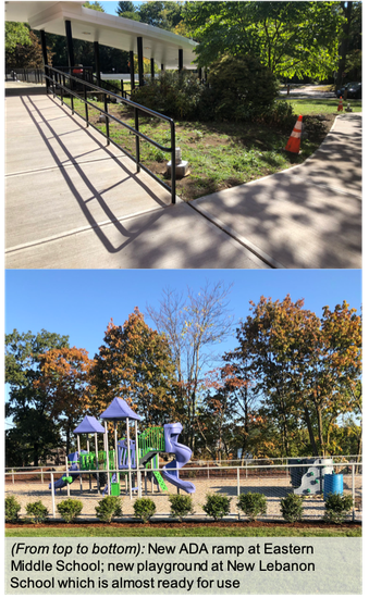 Two images: the Eastern Middle School ADA ramp and the new New Lebanon School's playground