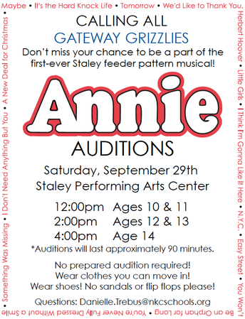 Tryouts for Annie - Staley's Fall Musical Production