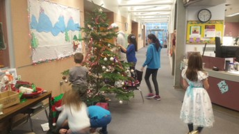 Holiday Fun! Decorating the school and sledding is back on!