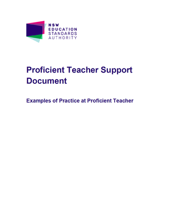 NESA: Proficient Teacher Support Document: Examples of Practice
