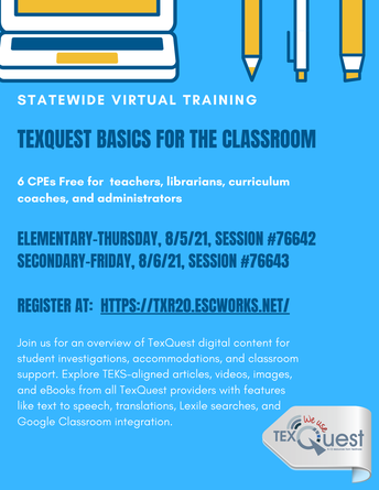 TexQuest Basics sessions flyer with registration links