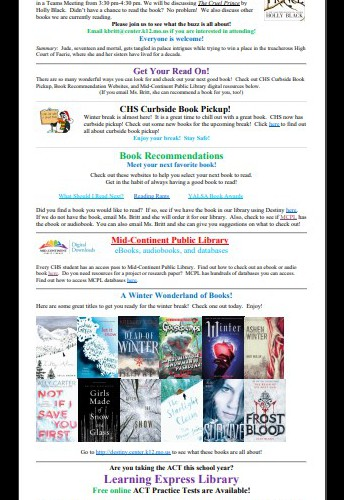 CHS Library news for December 2020