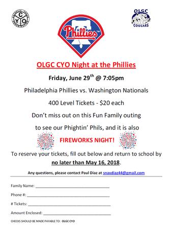 OLGC CYO Night At The Phillies- LAST CALL!