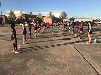 Our Travis Belles are hard at work every morning before school perfecting those routines for the Friday Night Lights!